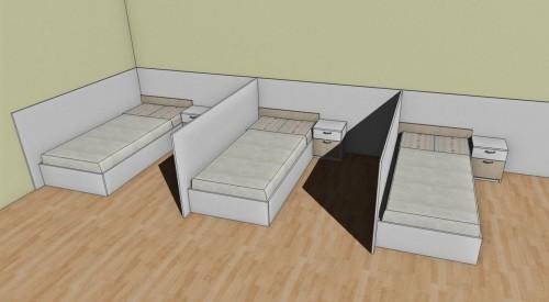 makeshift hospital beds